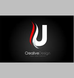 White and red u letter design brush paint stroke vector