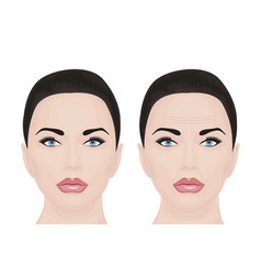 Young and aging face vector