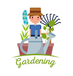 young man gardener with pitchfork plant and flower vector image