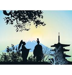 geisha mountains and trees vector image