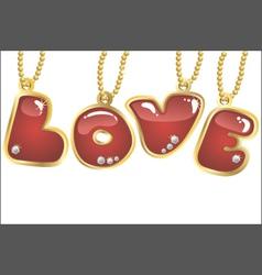 hanging word love vector image vector image