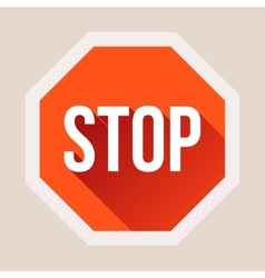 Stop sign with long shadow in flat style vector image vector image