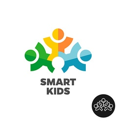 Three kids club logo concept Stylized people vector image vector image