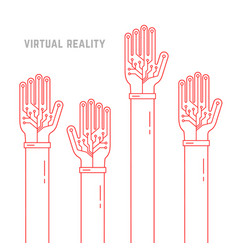 virtual reality with thin line hands up vector image vector image