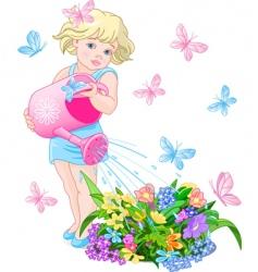 watering flower vector image