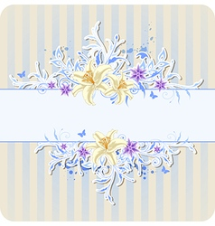 Decorative blue background with lily vector image vector image