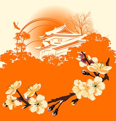 Japanese houses vector image vector image