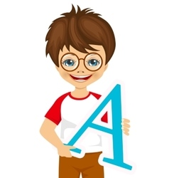 little kid with glasses holding the a letter vector image vector image