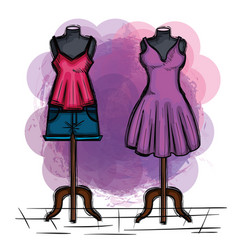 female fashion dress icon vector image vector image