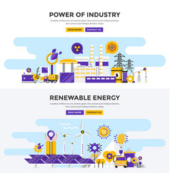 Flat design concept banners - power of industry vector