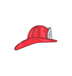 vintage fireman firefighter helmet drawing vector image vector image