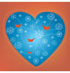 Christmas heart holiday card with snow vector image vector image