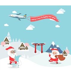 Santa claus enjoy christmas travel in asia vector