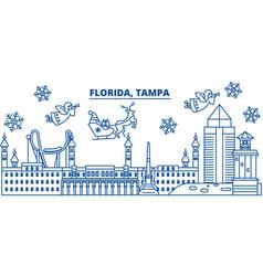 usa florida tampa winter city skyline merry vector image