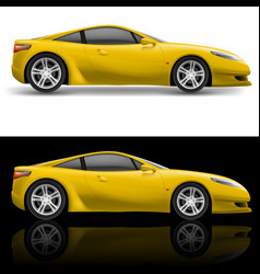 yellow sport car icon on white and black vector image