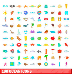 100 ocean icons set cartoon style vector image