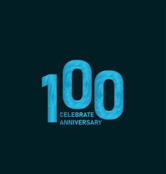 100 year anniversary aqua color template design vector