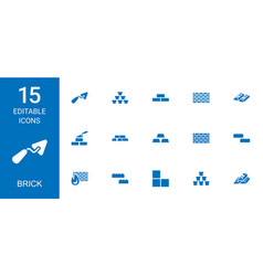 15 brick icons vector image