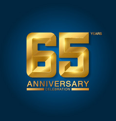 65 years anniversary celebration logotype golden vector image