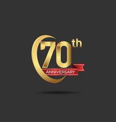 70 years anniversary logo style with swoosh ring vector