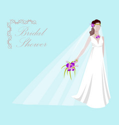 a beautiful bride holding a vector image