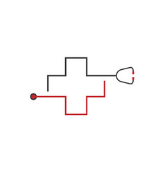 abstract line medical cross vector image