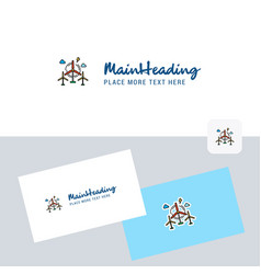 air turbine logotype with business card template vector image