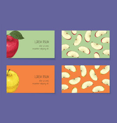 Apple business cards template collection vector