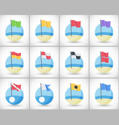 Beach warning flags icons flat set vector