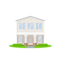 beautiful two-storey country house with white vector image