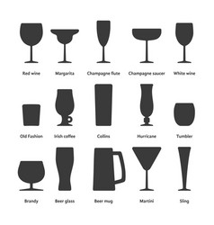 black set of stemware logo vector image