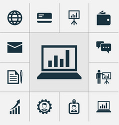 business icons set collection of leader contract vector image