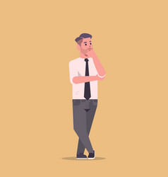 Businessman in formal wear holding hand on chin vector