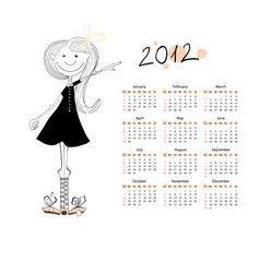 calendar for 2012 with a small girls vector image