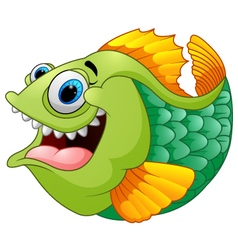 Cartoon of green piranha vector image