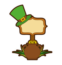 Cauldron gold coins green hat and sing board vector