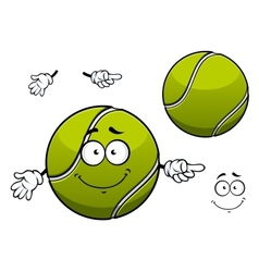 Cheerful green tennis ball cartoon character vector image