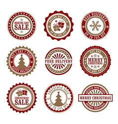 Christmas Badges and Stamps vector image