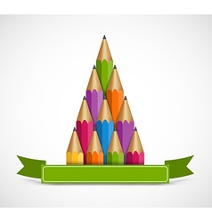 Christmas tree of colored pencils Background vector