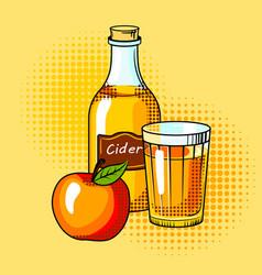 Cider alcohol drink pop art vector