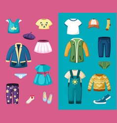 clothes for little boys and girls set stylish vector image