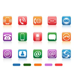 Contact button icons set vector