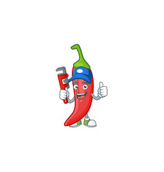 Cool plumber red chili cartoon character mascot vector