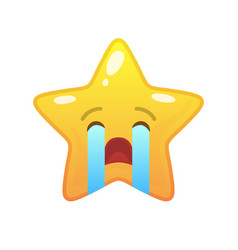 Crying star shaped comic emoticon vector