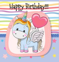 Cute cartoon unicorn with balloon vector