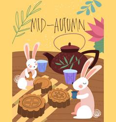cute mid-autumn poster design a rabbits tea vector image