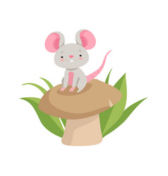 cute mouse sitting on the mushroom funny animal vector image