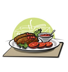 Cutlets and tomato sauce vector