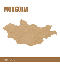 Detailed map of mongolia cut out of craft paper vector