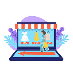 female character on online shopping using laptop vector image